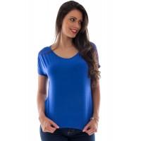 Blusa Feminina Ampla Gola Canoa Azul